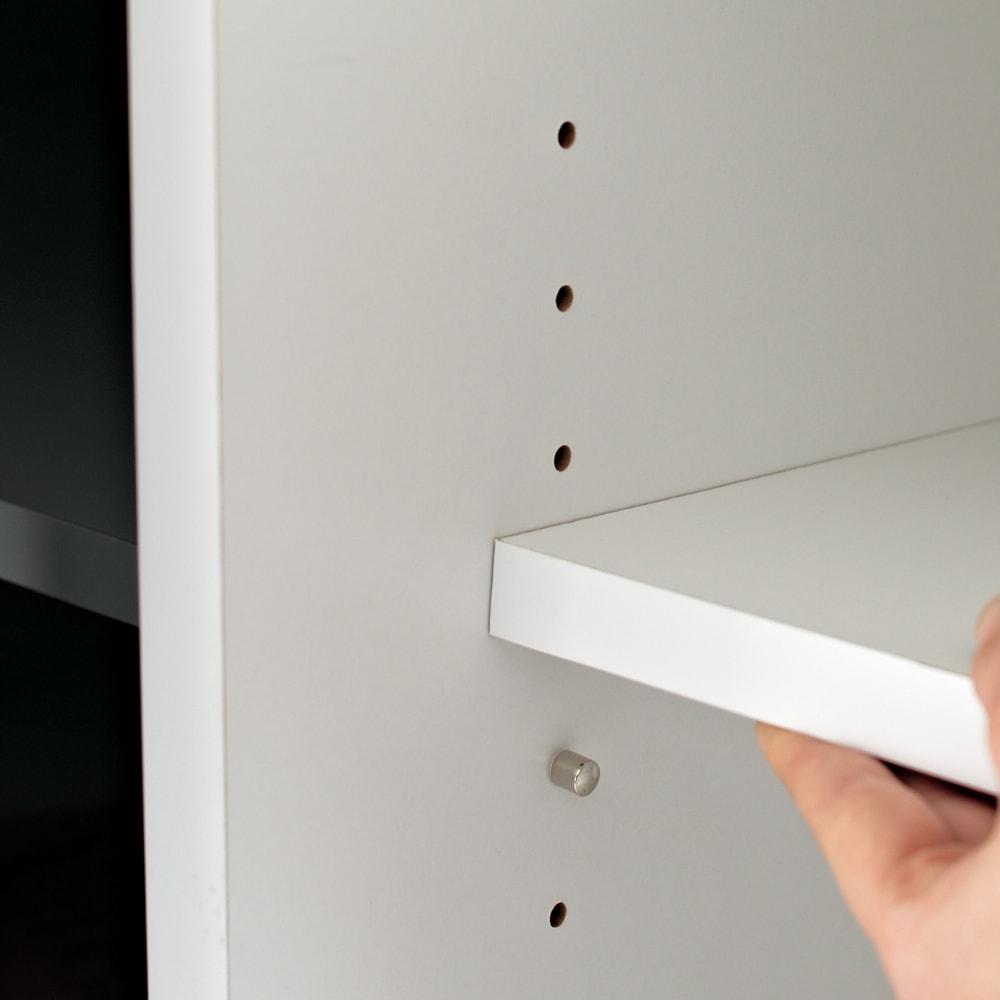 【日本製】引き戸式ミラーワードローブ  ハンガー 幅118cm 棚板は3cmピッチで可動。収納物にあわせて設置できます。