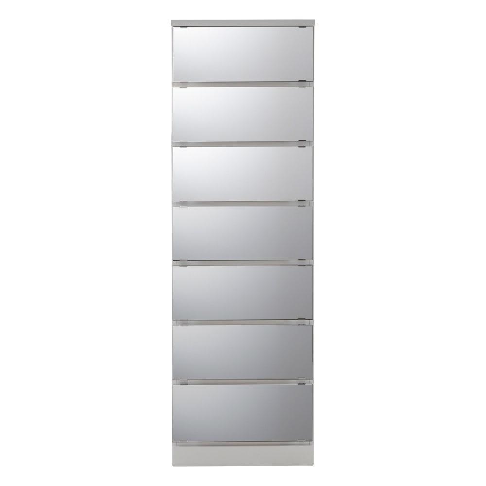 【日本製】引き戸式ミラーワードローブ タワーチェスト 幅57.5cm (ア)前板:ミラー・本体:ホワイト ※写真は幅57.5cmタイプです。