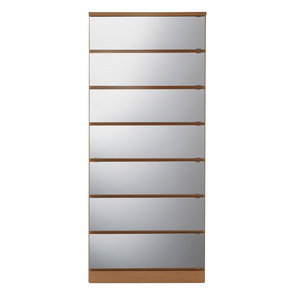 【日本製】引き戸式ミラーワードローブ タワーチェスト 幅57.5cm (イ)前板:ミラー・本体:ナチュラル ※写真は幅57.5cmタイプです。