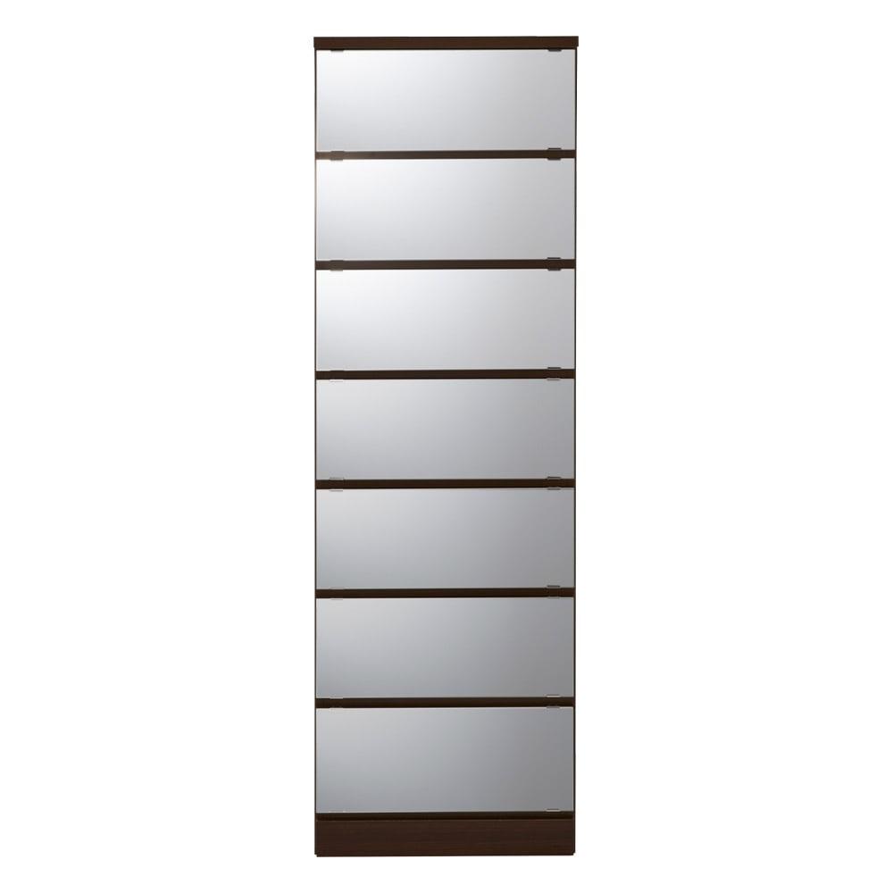 【日本製】引き戸式ミラーワードローブ タワーチェスト 幅77.5cm (ウ)前板:ミラー・本体:ダークブラウン
