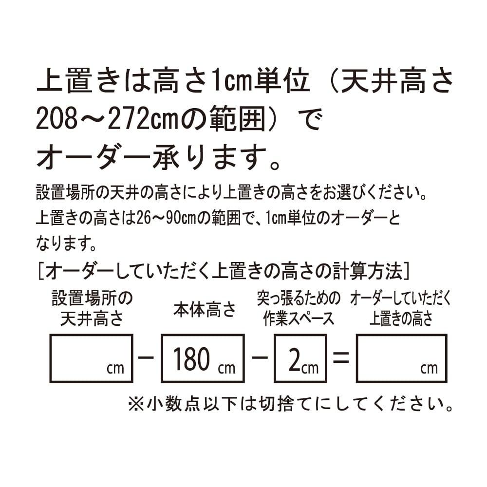 【日本製】引き戸式ミラーワードローブ  高さオーダー対応上置き プッシュ扉タイプ 幅57.5cm(高さ26~90cm) 上置きは高さ1cm単位でサイズオーダーを承ります。