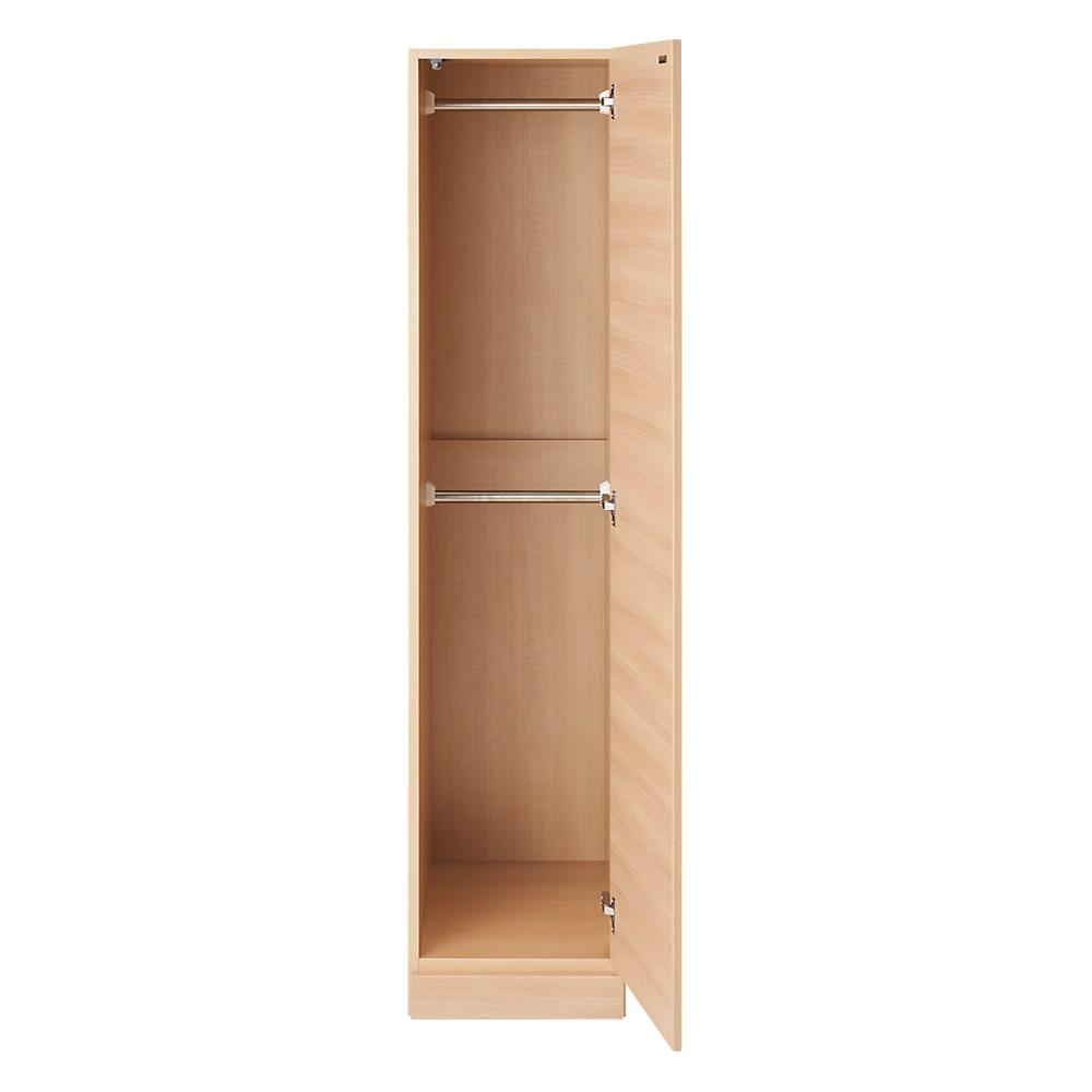 お部屋の天井構造を考慮した壁面ワードローブ ハンガー2段 幅40高さ180cm(高い梁下に) 扉開け お届けする商品です。