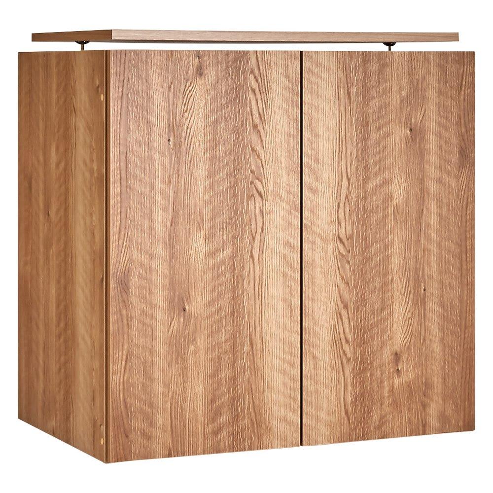 天然木調スタイルミラーワードローブ 高さオーダー上置き 幅60cm・高さ26~90cm (イ)前板:ブラウン・本体:ブラウン