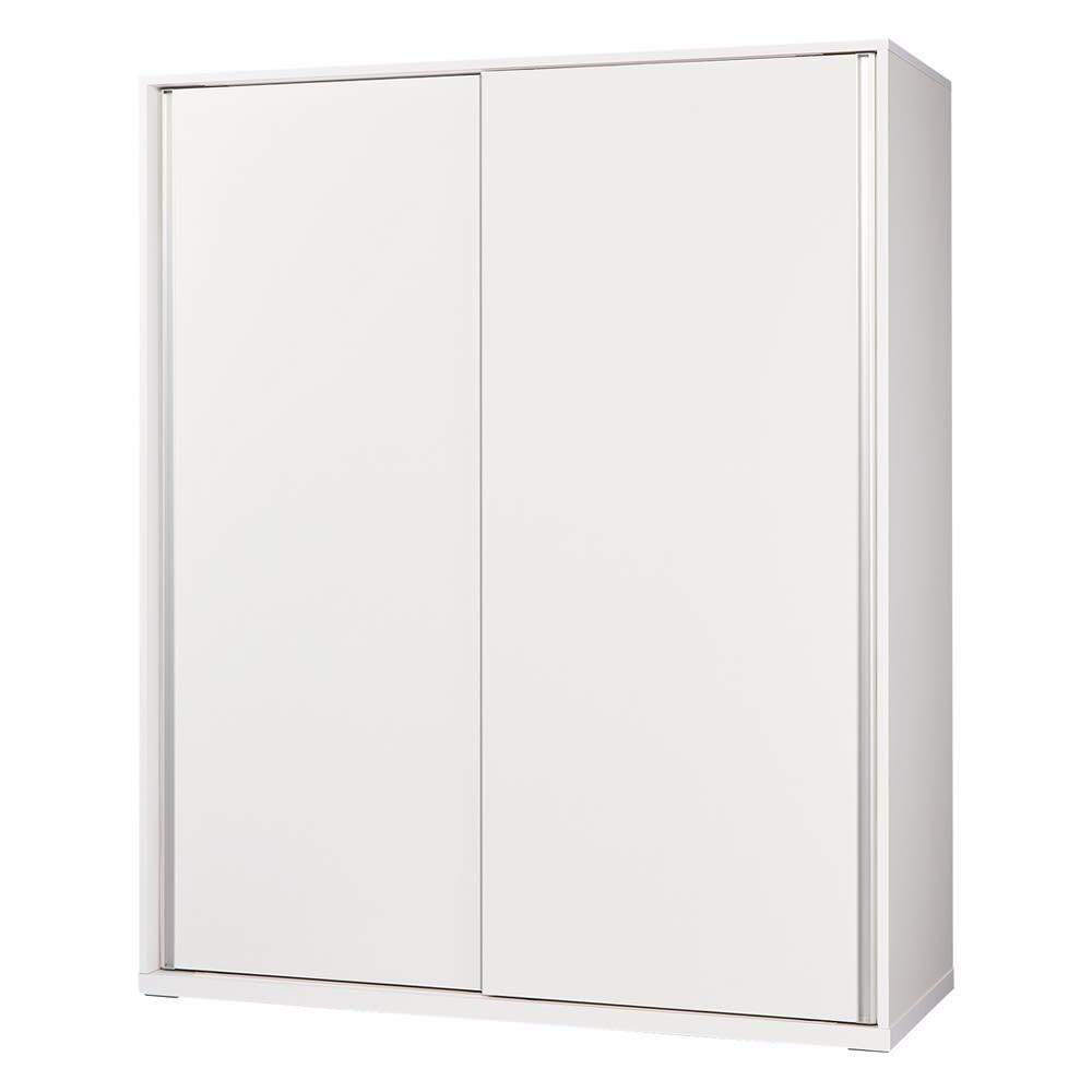 【幅90cm】オールインワン引き戸ミラーワードローブ  (ア)板扉タイプ・本体:ホワイト ※写真は幅150cmタイプです。
