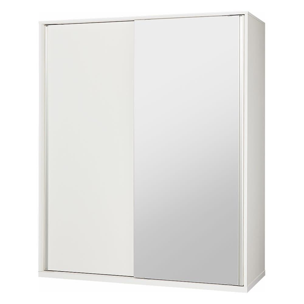 【幅90cm】オールインワン引き戸ミラーワードローブ  (ウ)片面ミラータイプ・本体:ホワイト ※写真は幅150cmタイプです。