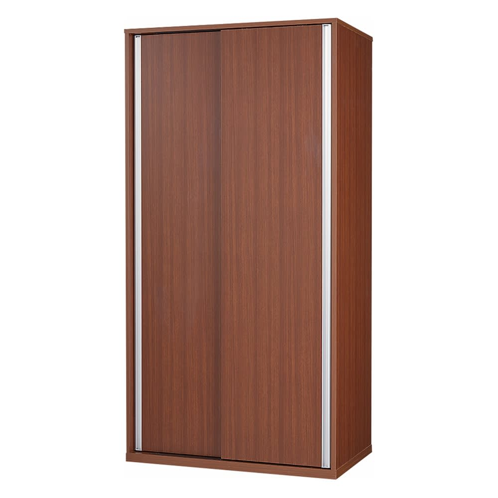 オールインワン引き戸ワードローブ 幅150cm (イ)板扉タイプ・本体:ダークブラウン ※写真は幅90cmタイプです。