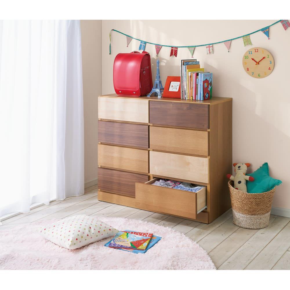 北欧風グラデーションチェスト 3段 コーディネート例 お子様部屋に置いてみれば、一気にかわいらしい雰囲気のある家具へと様変わり。