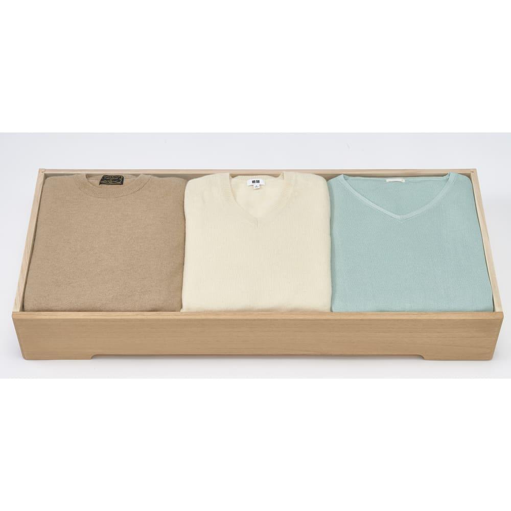 総桐オイル仕上げモダンチェスト 7段 高さ107cm セーターやシャツなど、畳んでしまう洋服の収納にも活躍。