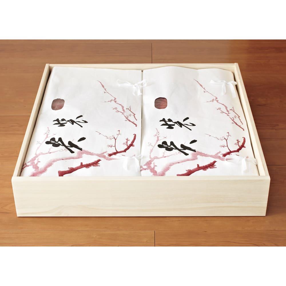 【日本製】キャスター付き総桐押し入れタンス 3段 幅44奥行75cm 取り外せる引き出しにたとう紙もすっきり 引き出しは簡単に取り外せ、衣類の入れ替えに便利。幅67cmまでのたとう紙に対応。 (※写真は幅75cmタイプです)