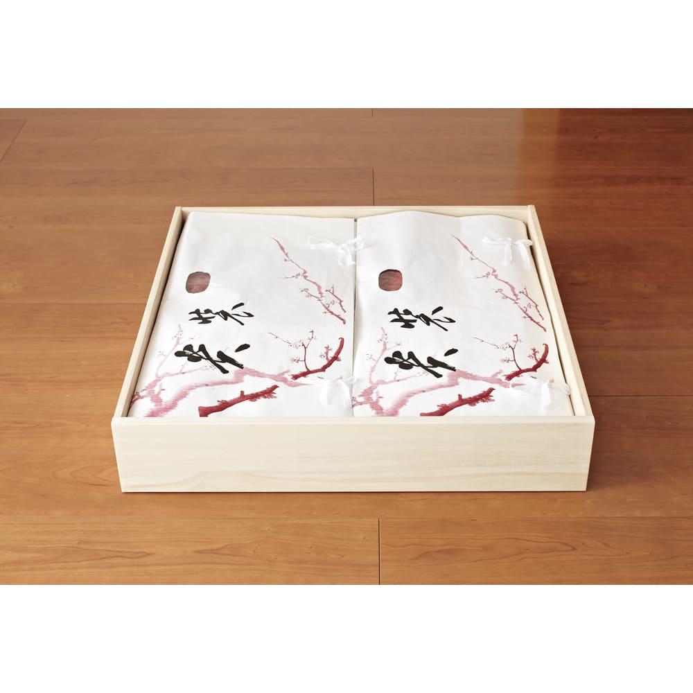 【日本製】キャスター付き総桐押し入れタンス 3段 幅75奥行75cm 取り外せる引き出しにたとう紙もすっきり 引き出しは簡単に取り外せ、衣類の入れ替えに便利。幅67cmまでのたとう紙に対応。(※写真は4段・幅75cmタイプです)