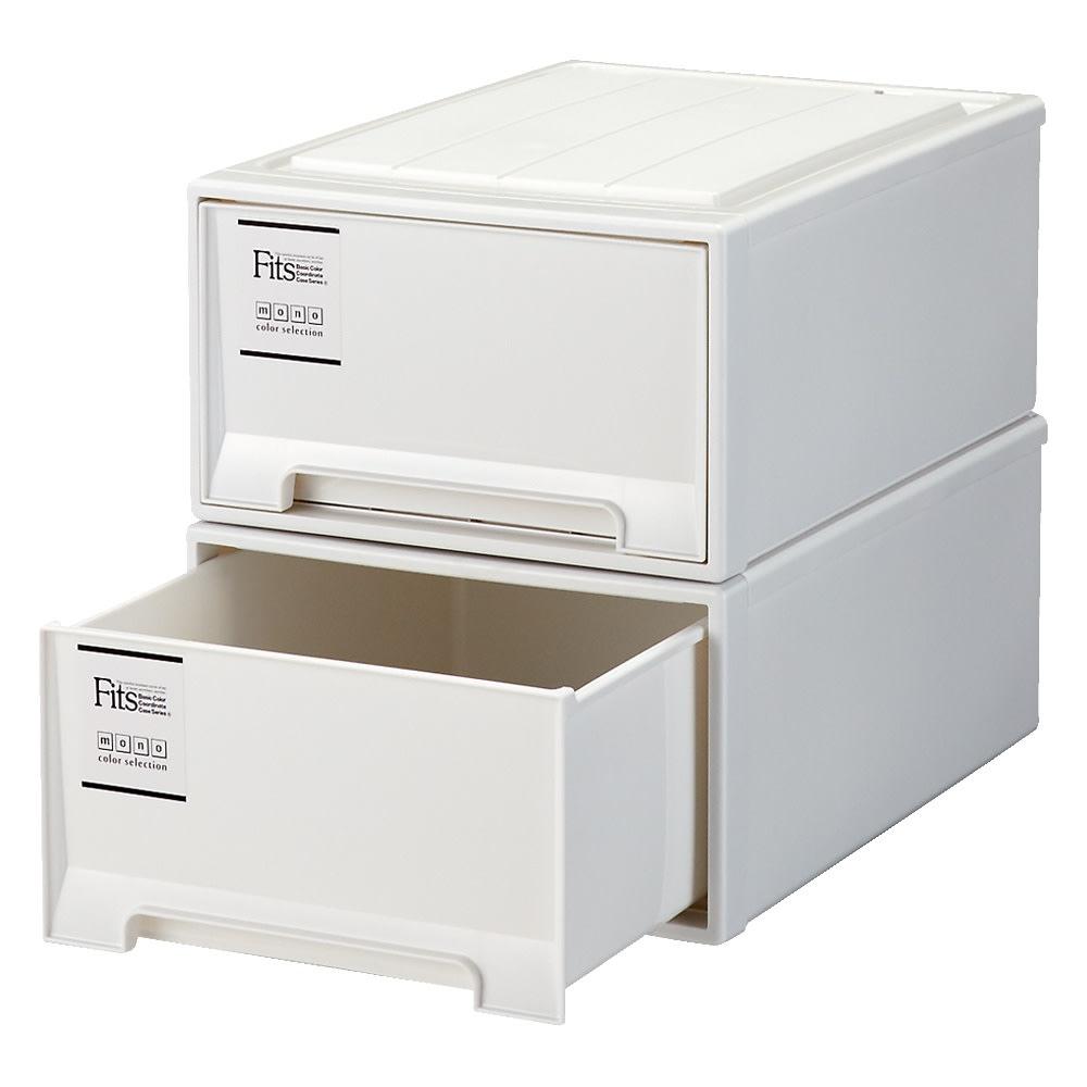 Fits フィッツ収納ケース 押し入れタイプ 奥行74cm 幅44cm 高さ23cm 2個組 (イ)ホワイト(引き出し部不透明)