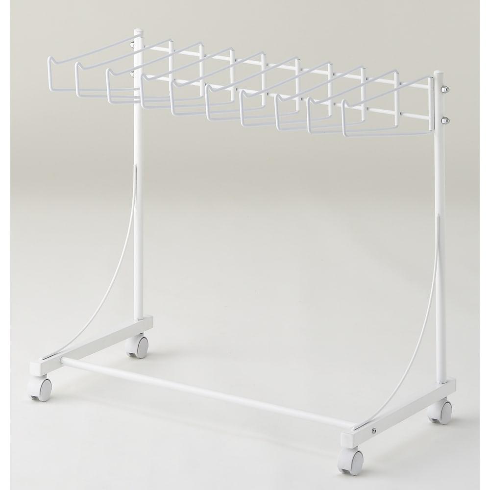 パンツ&ジーンズハンガーラック 10本掛け 幅75cm (ア)ホワイト 爽やかな印象でインテリアの邪魔をしないカラーです。