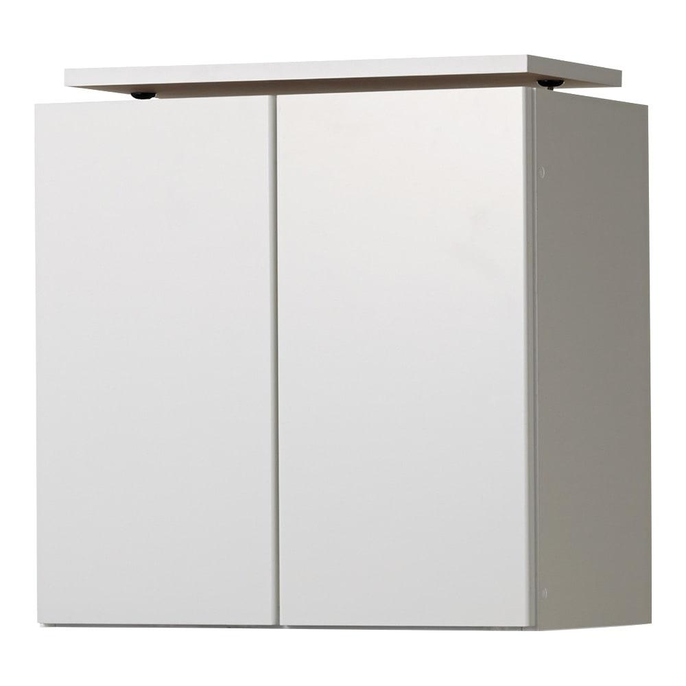 美しく飾れる壁面シューズクローゼット オーダー上置き(2枚扉) 幅60cm高さ26~90cm (イ)前面:ホワイト・本体:ホワイト