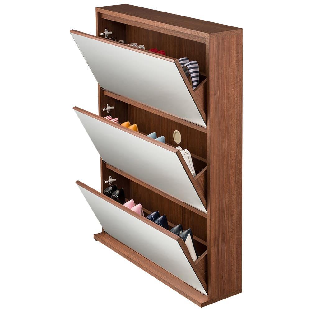 静かに開閉するミラー扉の薄型シューズボックス 3段 幅90cm フラップ扉を開いたイメージ。