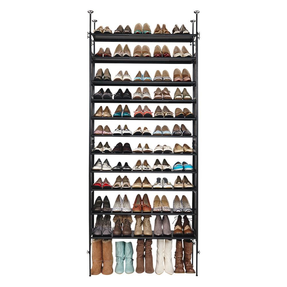 空間に美しく調和する伸縮自在木目調シューズラック 突っ張り式11段ワイド 靴の収納足数 約60~72足