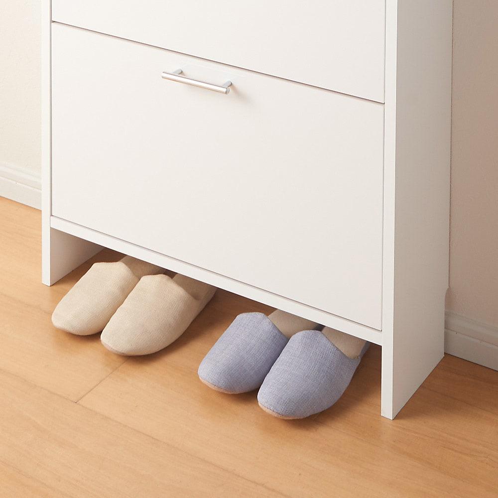 玄関小物ひとまとめチェスト 幅84cm よく履くスリッパは下のすき間に。