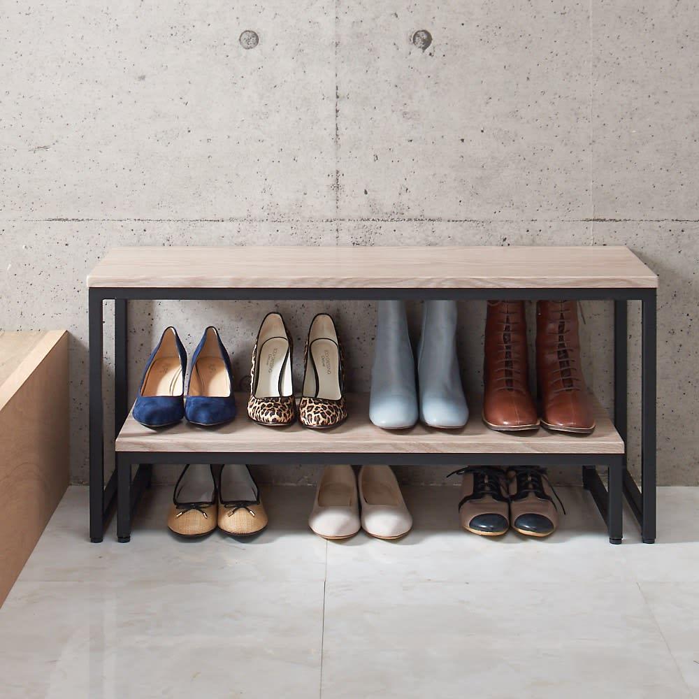 ブルックリン風 玄関ベンチ&踏み台 お得なセット ワイド ベンチと踏み台のセット使いなら入れ子収納可能。靴が7足置けます。