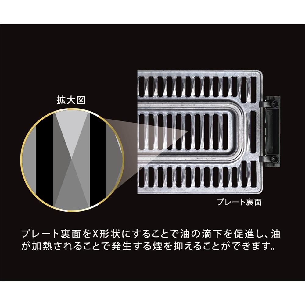 煙と油ハネを抑える!減煙焼き肉グリル「X グリル」 プレート裏面イメージ