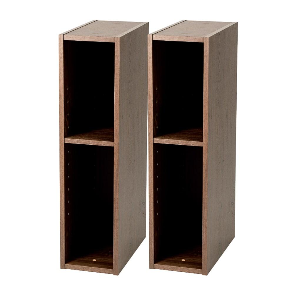 幅15cmすき間収納スリムユニット同色2個組 (イ)ウォルナット調(木目調)