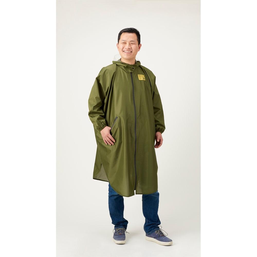 ゆったり防水レインコート&レインバイザー ビッグは男性が着ても◎