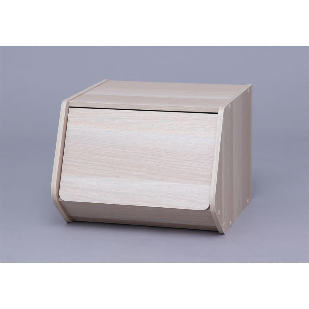 扉付きスタック収納BOX 2個組 ア:ナチュラル