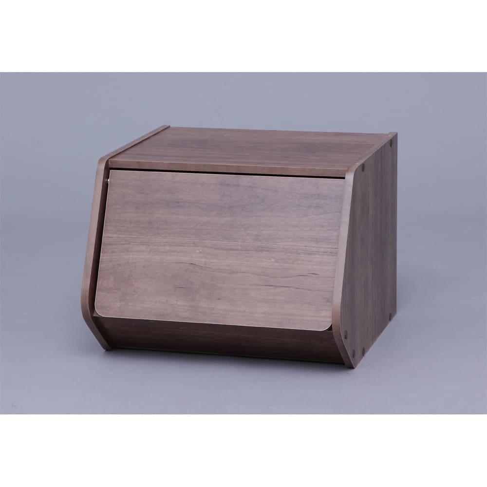 扉付きスタック収納BOX 2個組 イ:ブラウン