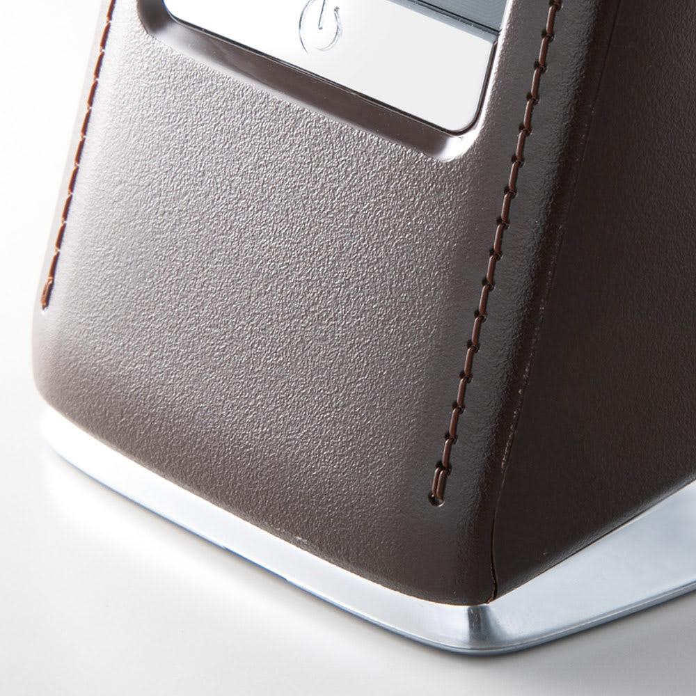 デジタル表示付きLEDスタンドライト インテリア性のあるレザー調デザイン