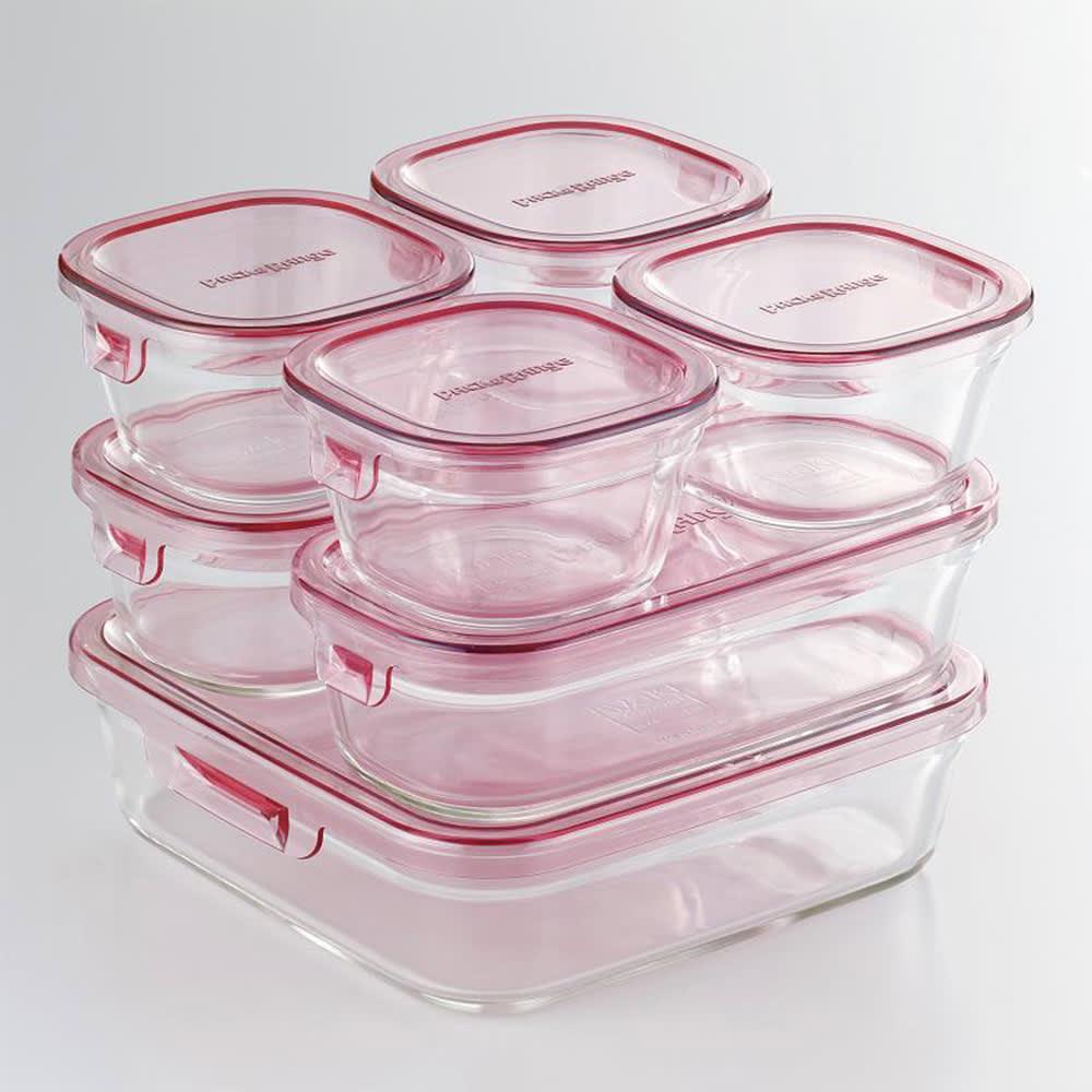 イワキ 耐熱ガラスパック&レンジシステム 7点セット (ア)ピンク