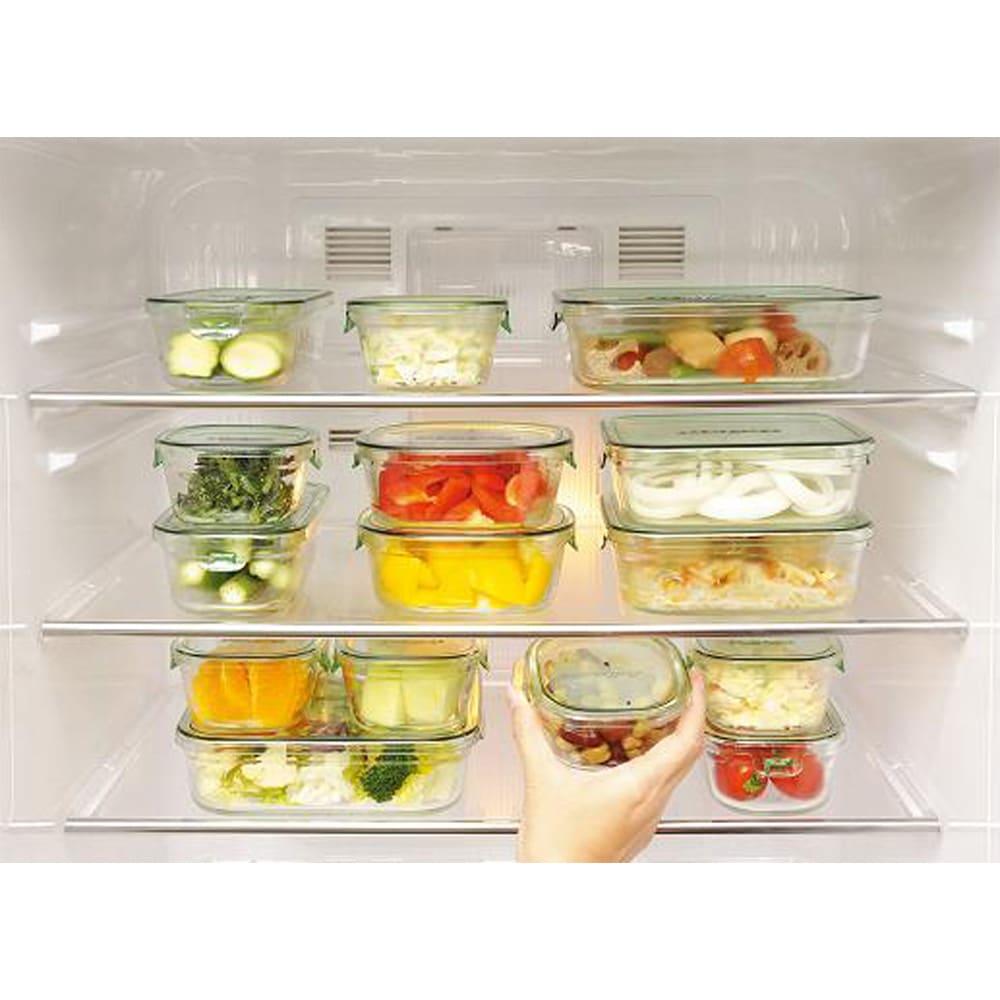 イワキ 耐熱ガラスパック&レンジシステム 7点セット (イ)グリーン 冷蔵庫をキレイ整理