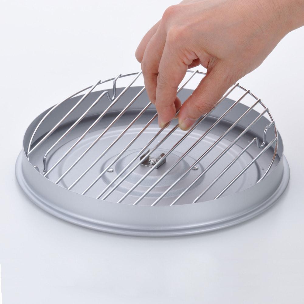 バット蓋付きIH対応段付き天ぷら鍋 24cm ワイヤーを外せばお手入れ簡単。