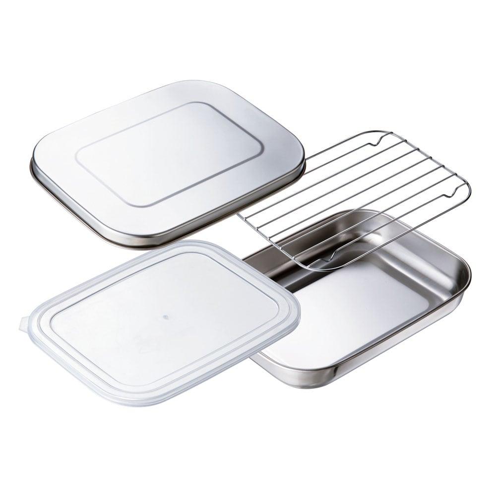 ステンレス製 パパッと揚げ物バット11点セット(お得なフルセット) ステンレス蓋×1、プラスチック蓋×4、ステンレス網×2、ステンレス製バット×4のセット。