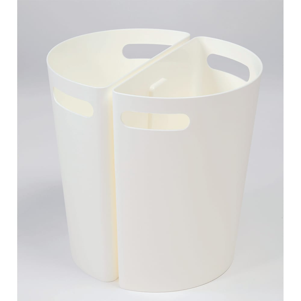 半円マグネットダストボックス2色組 (イ)ホワイト壁に沿う形状。並べての使用も◎。