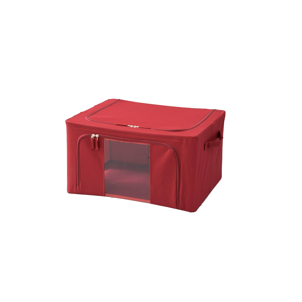 ワイヤー入り窓付き収納ボックス3個組 (イ)レッド