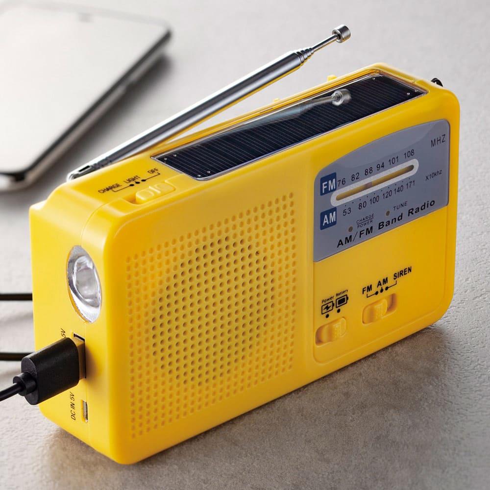 6WAY携帯充電ラジオ (イ)イエロー 日中ソーラー充電が可能。