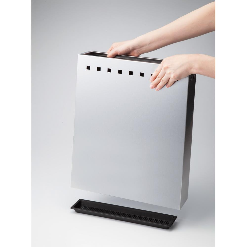ステンレス製スリム傘立て 被せるだけで簡単設置。