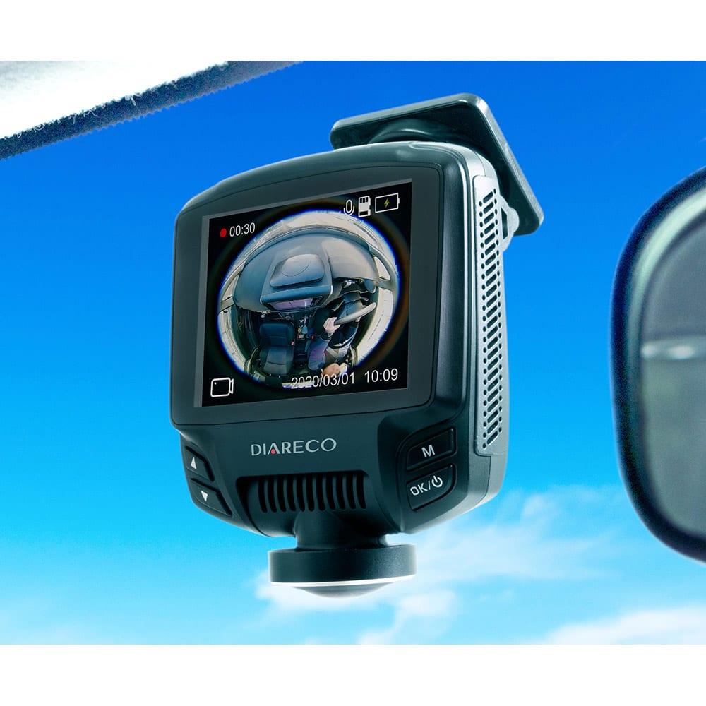 360°全方位録画ドライブレコーダー【前方360°カメラ+後方カメラ】 前方カメラ※取り付け例(配線は取り外した状態です)
