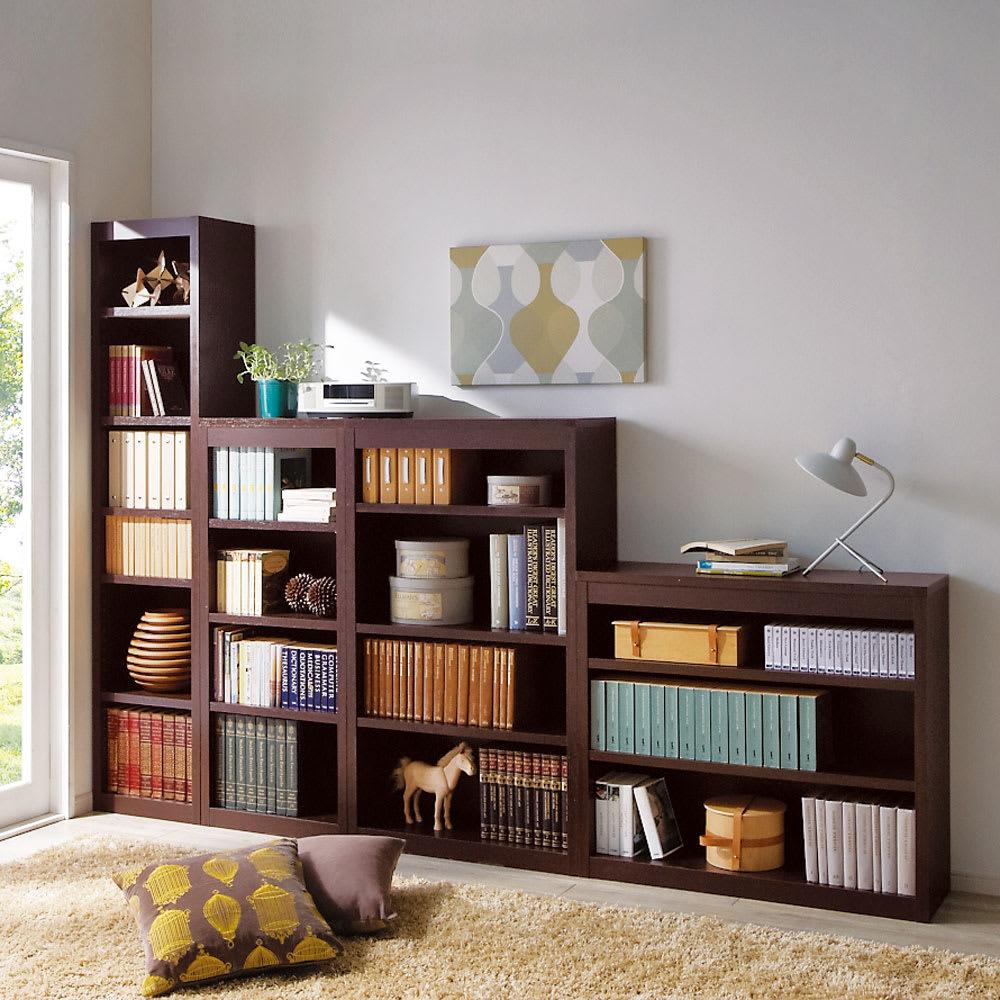 頑丈棚板がっちり書棚(頑丈本棚) ミドルタイプ 幅70cm コーディネート例(イ)ダークブラウン ※お届けは幅70高さ120cmです。
