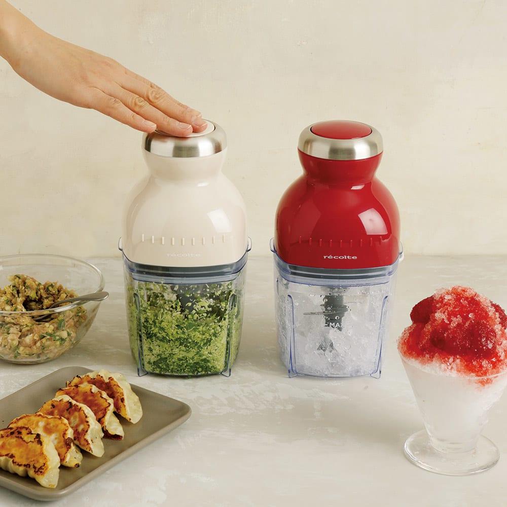 recolte  レコルト カプセルカッターボンヌ かき氷もできます! 左から(イ)ホワイト(アイボリー)(ア)レッド かき氷も!餃子の野菜のみじん切りもおまかせ。