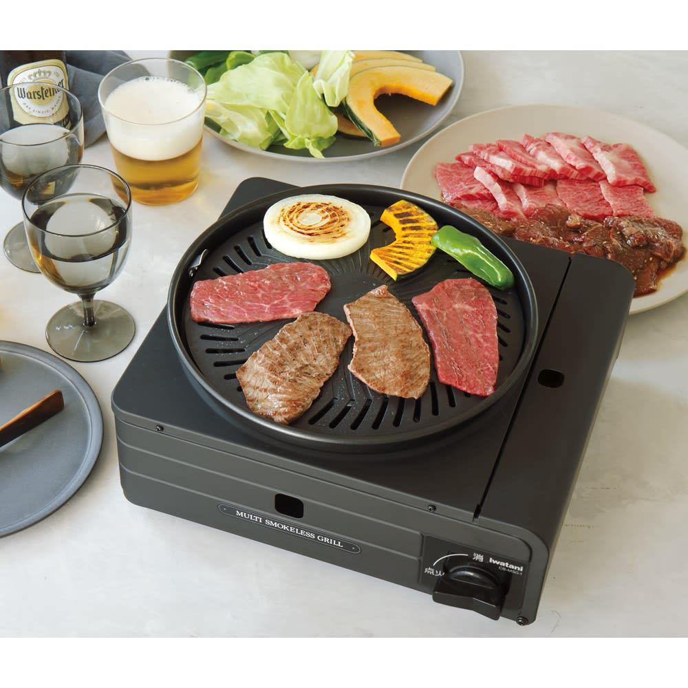イワタニ マルチスモークレスグリル 自宅で焼き肉三昧! こんなにコンガリ焼けているのに煙はほとんどでません!(載せたとき、最初のうちは食材の水蒸気は少しでます)