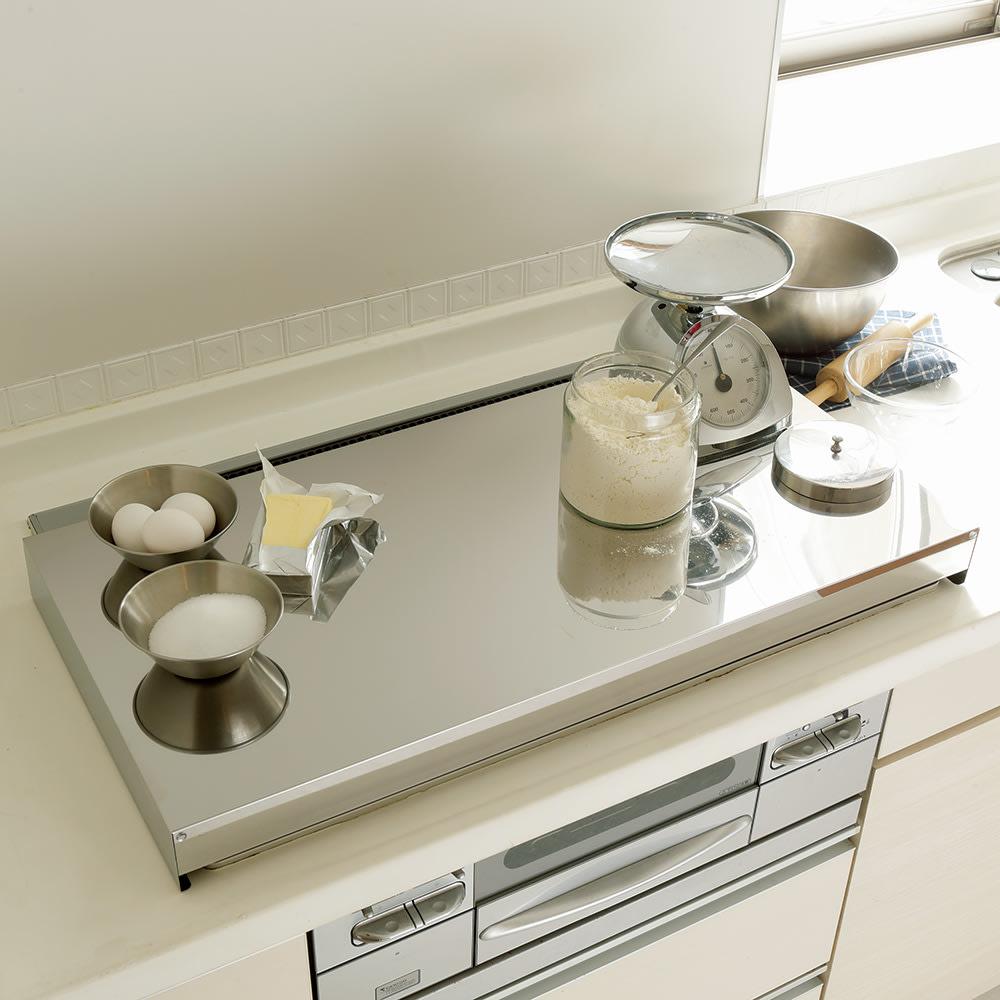 キッチン 家電 キッチン収納 水切り シンク下 コンロまわり収納 油はねガードにもなるコンロカバー 排気口カバー付き75cm用 561508