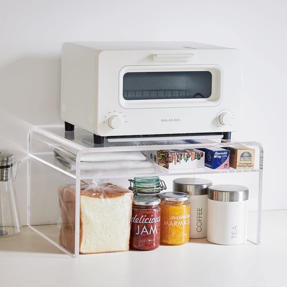 キッチン 家電 キッチン収納 水切り キッチン小物収納 アクリルのトースターラック 棚付き 561604