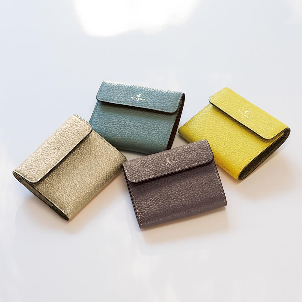 ペレボルサ コンパクト2つ折り財布 右上から(ウ)イエロー、(ア)トープ、(エ)ゴールド、(イ)ブルーグレー