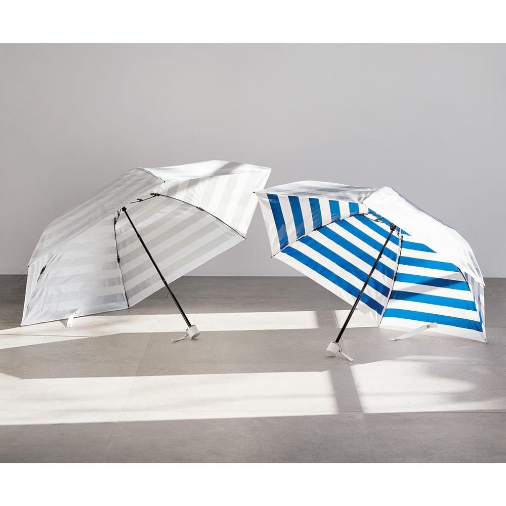 プレミアム ホワイトパール UV遮熱加工晴雨兼用折りたたみ傘 左から(ア)シルバー 55cm、(イ)ネイビー 50cm