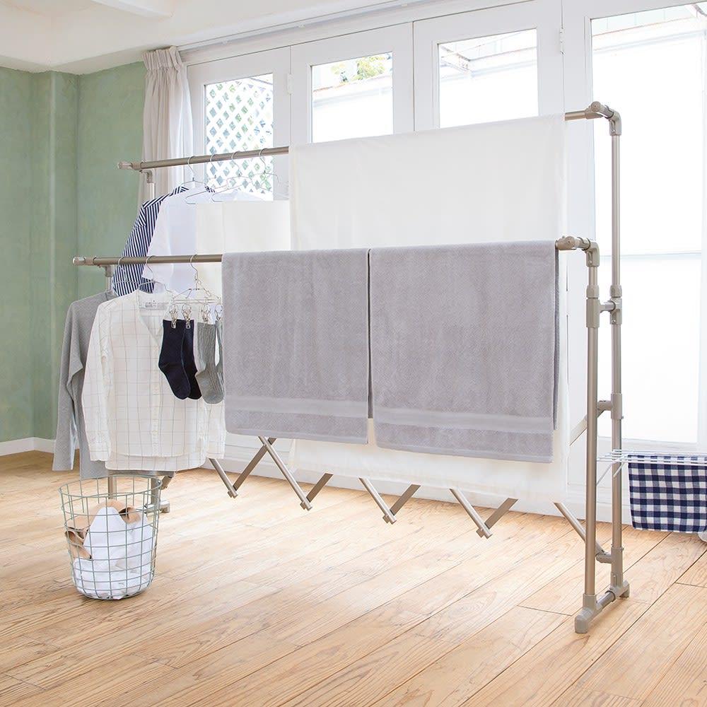 ミニマムビッグ物干し ワイドタイプ(キャスターなし) シャンパンゴールド/シルバー 物干し台・洗濯ハンガー