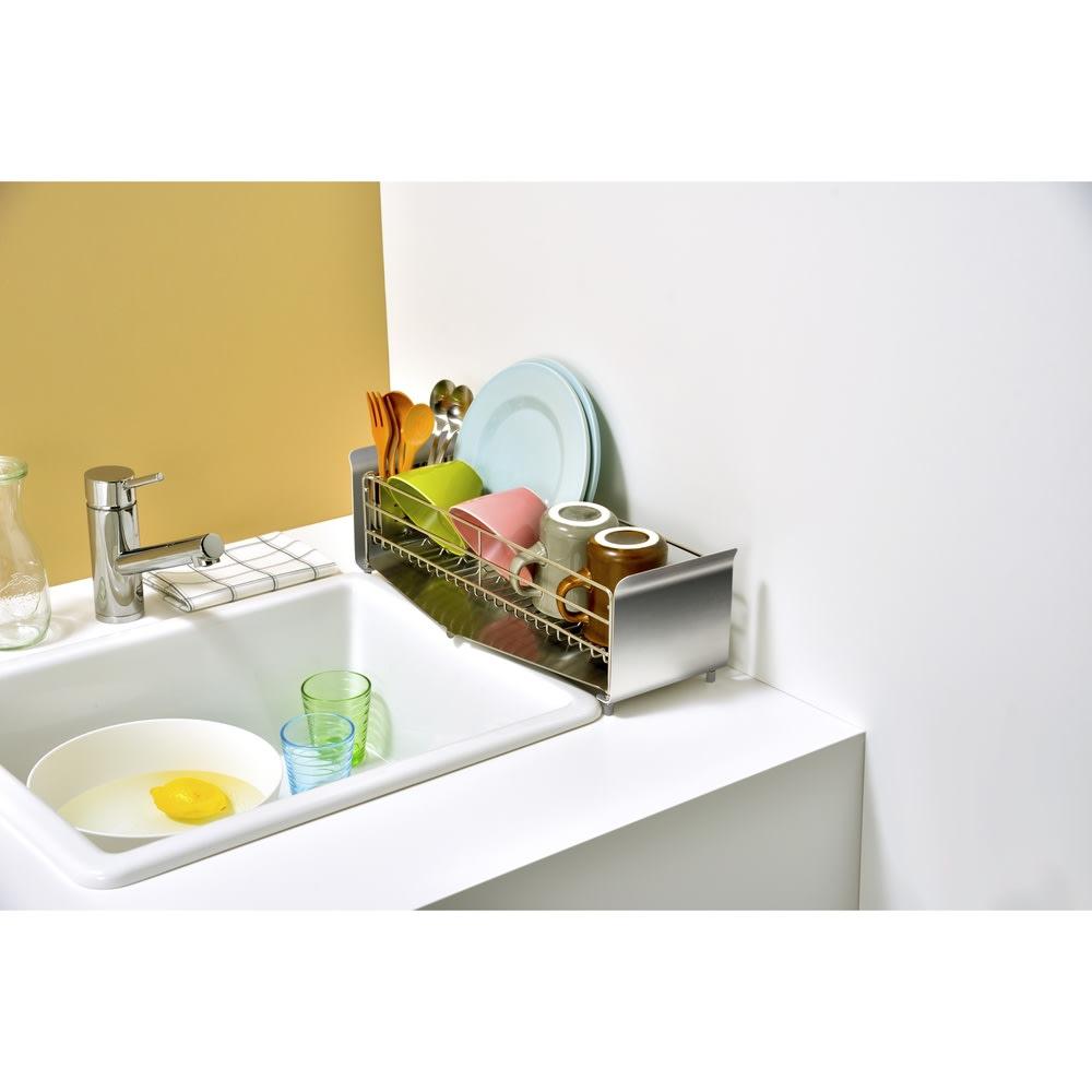 キッチン 家電 キッチン収納 水切り 水切りかご ラック UtaU水切りラックスリム ソリッドシルバー 563476