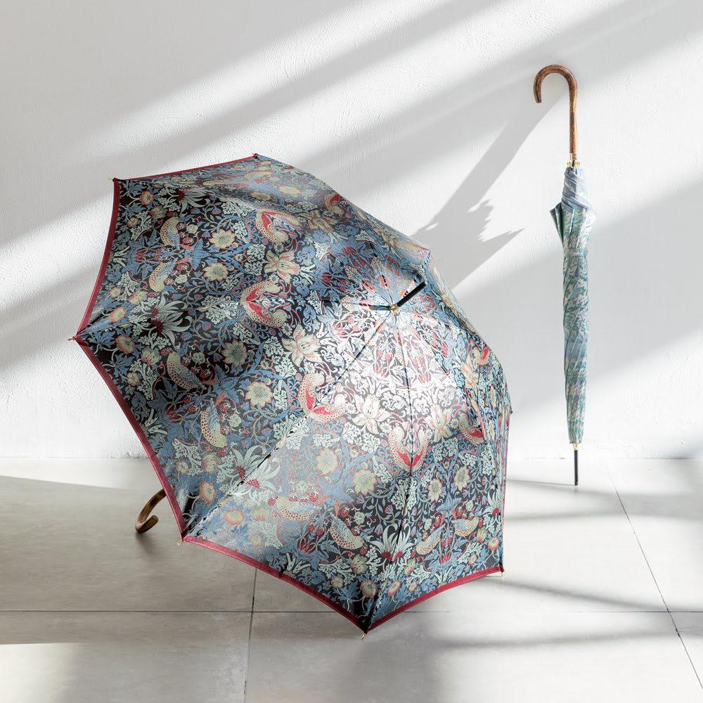 V&A モリス  いちご泥棒 ジャカード生地晴雨兼用傘 長傘 左から(ア)ブラック/エンジ (ウ)ライトブルー