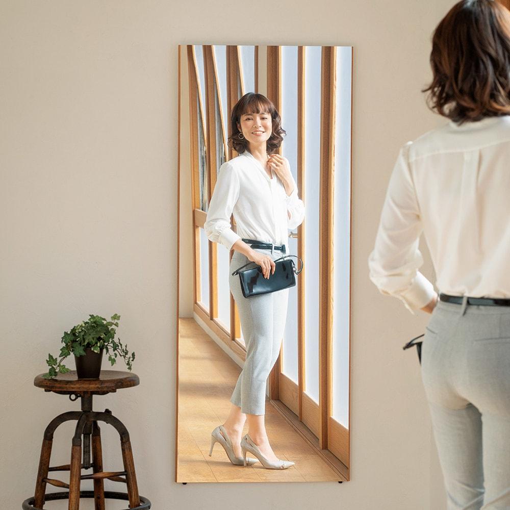 REFEX 割れない軽量フィルムミラー 細枠 60×150cm シャンパンゴールド/シルバー/モクメチョウ スタンドミラー・姿見鏡・壁掛け鏡