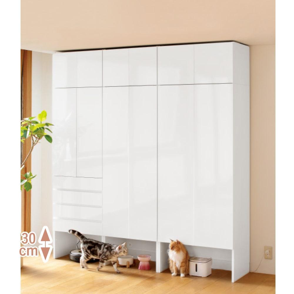 ペットを飼っている人のための 下オープン収納庫 扉タイプ幅60cm高さ180cm 下段オープン部高さ30cm ライトアッシュ/ホワイト/ウォルナット ユニット家具