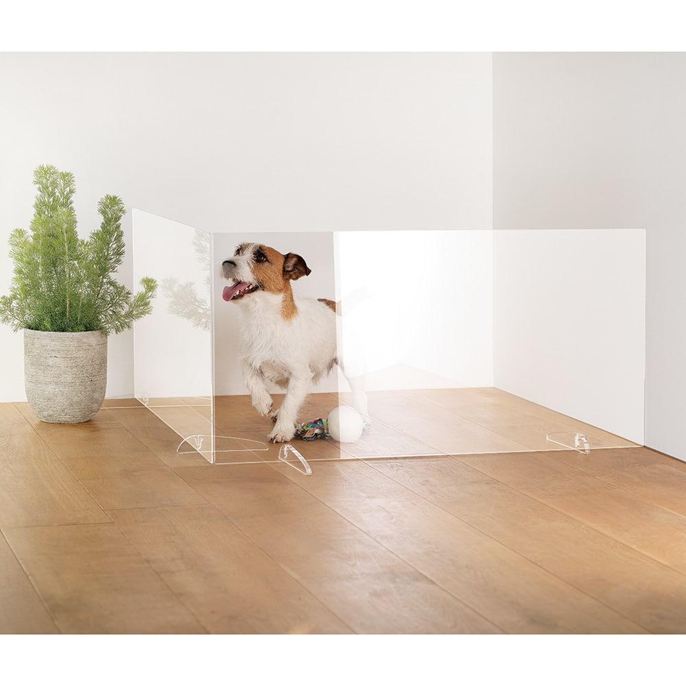 アクリル製 透明ペットゲート 幅90・2枚 ※写真は幅90&幅60です。