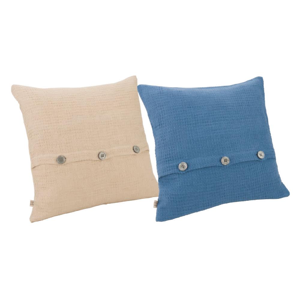 【LINEN & BASIC】リネン&ベーシック  リネン ワッフル織 クッションカバー(1枚) 左から(ア)グレージュ(イ)ブルー